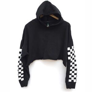 Wild Fable Oversized Cropped Checkerboard Hoodie
